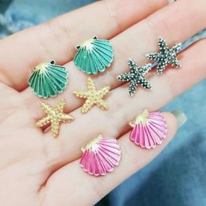 Set of 4 sea shell starfish earrings.